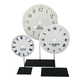 Porcelain & Metal Clock Faces on Stands - Set of 3