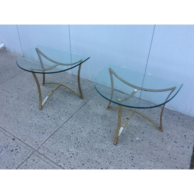 1970's Modern Demi Lune Brass Side Tables - Image 4 of 11