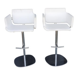 Italian Leather Bar Stools with Hydraulics - Pair