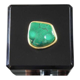Malachite and Black Lucite Jewelry Box