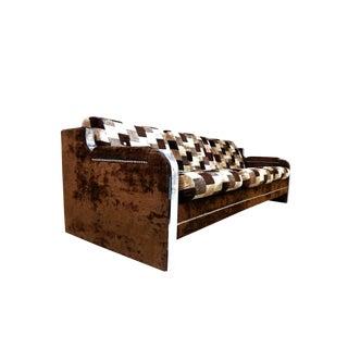 Mid-Century Brown Velour Sofa