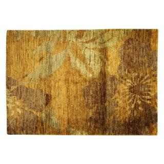 """Modern Jute Brown Floral Area Rug - 5'4"""" x 7'10"""""""