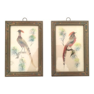 Vintage Mexican Folk Art Bird Artwork - A Pair