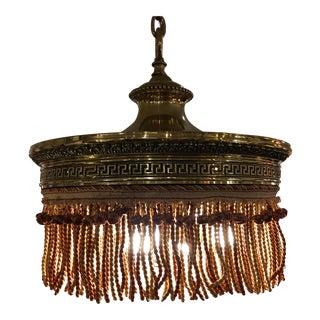 Vintage Victorian Fringed Brass Pendant