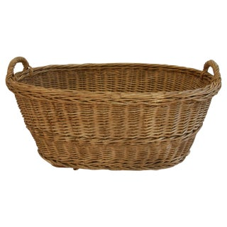 Early 1900s Woven French Country Market Basket