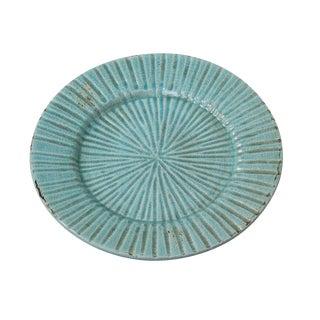 Turquoise Antiqued Ceramic Plate