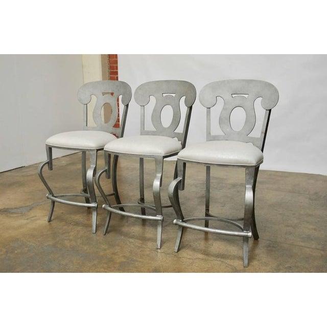 Modern Biedermeier Style Metal Barstools - Set of 3 - Image 2 of 10
