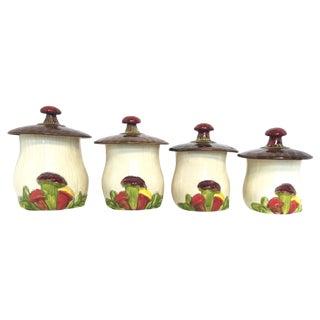 Vintage McCoy Ceramic Mushroom Canisters - S/4