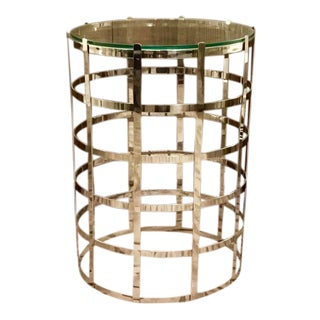 Cyan Nickel Grid Side Table
