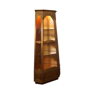 Vintage Italian Gold Gilt Painted Corner Curio Display Cabinet