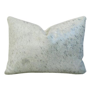 Designer Metallic Silver & White Cowhide Pillow