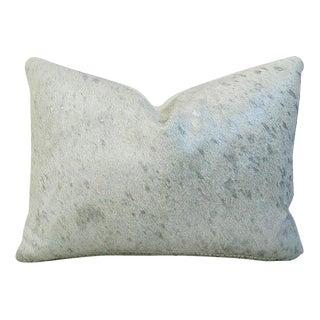 Designer Metallic Silver & White Cowhide Pillow