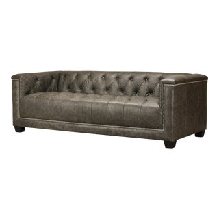 Spectra Home Modern Leather Tuxedo Sofa With Silver Nailheads