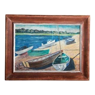 Vintage Impressionist Oil Painting of Sailboats