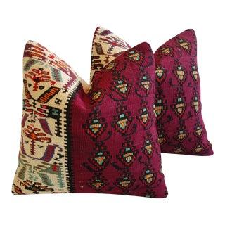 Authentic Anatolian Turkish Kilim Wool Pillows - Pair