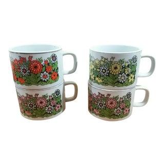 Stackable Ceramic Coffee Mugs - Set of 4