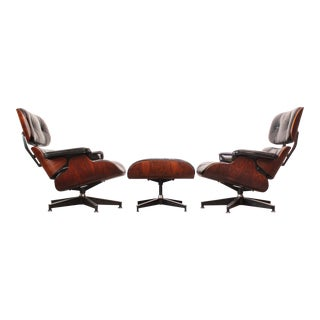 Pair of Vintage Rosewood Eames 670 Lounge Chairs with Ottoman