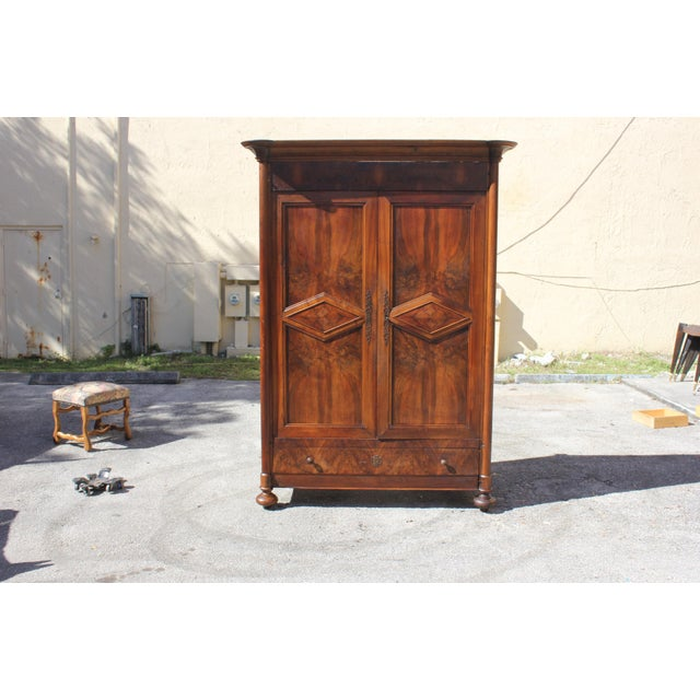 19th Century French Louis Philippe Walnut Period Chateau Armoire circa 1850s - Image 2 of 11