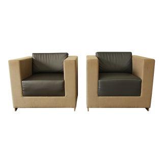 Bernhardt Modern Cube Lounge Chairs - a Pair