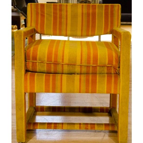 Mid-Century Orange Striped Velvet Armchairs - Pair - Image 8 of 10