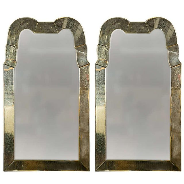 Queen Anne Style Venetian Glass Mirrors - A Pair - Image 1 of 5