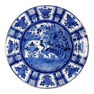 18th-Century Delft Charger with Peacock Bird