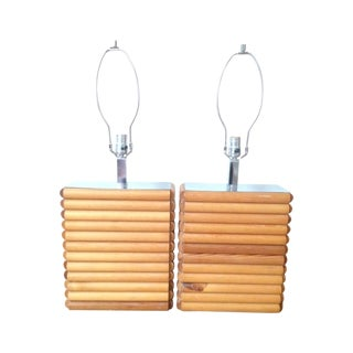 1970s Rattan Chrome Lamps - A Pair