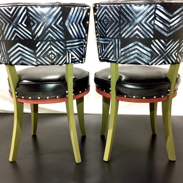 Vintage Tribal Vinyl Side Chairs - Pair - Image 3 of 7