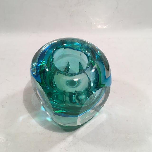 Image of Crystal Cased Green & Blue Glass Candle Holder