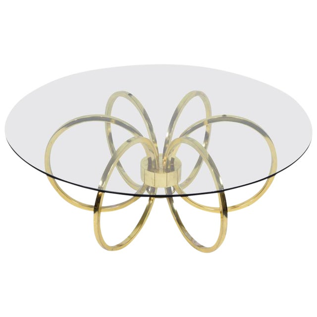 Milo Baughman Style Brass Finish Coffee Table - Image 1 of 6
