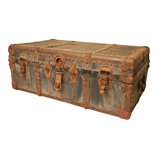 Vintage Industrial Black Steamer Trunk