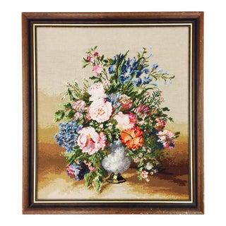 Large Wooden Framed Floral Needlepoint