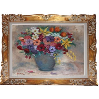 Bouquet of Flowers in Blue Vase Painting