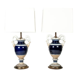 Antique Meissen Cobalt Porcelain Lamps - A Pair