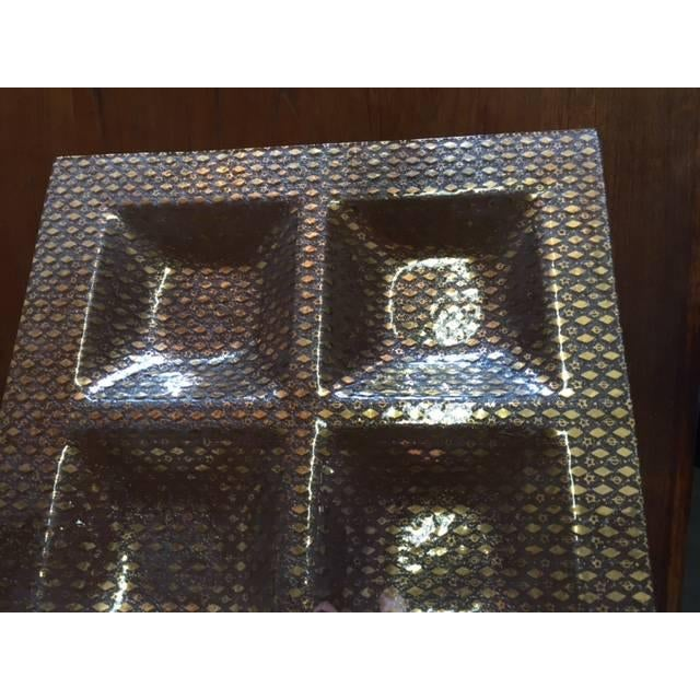 Image of Large Mid Century Glass Gold Serving Tray