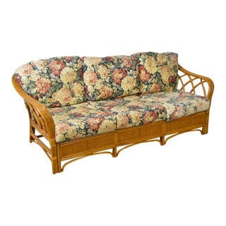 Quality Rattan Sofa w/ Floral Upholstered Cushions