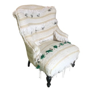 Moroccan Wedding Blanket Upholstered Arm Chair