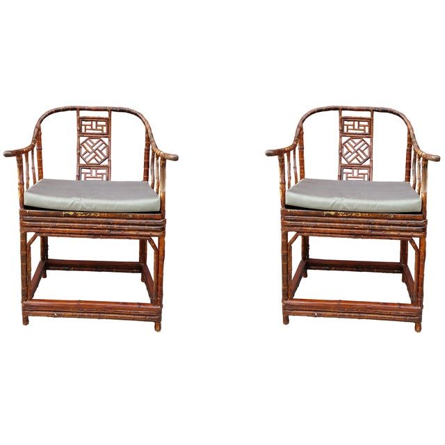 Image of Chinese Bamboo Armchairs- A Pair