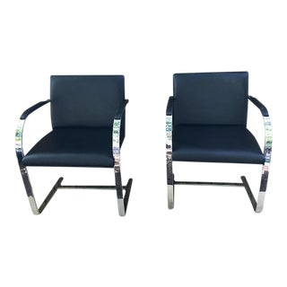 Mies Van Der Rohe Black Flat Bar Chairs - a Pair