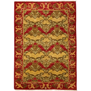 """Arts & Crafts Hand Knotted Area Rug - 4'1"""" X 6'0"""""""