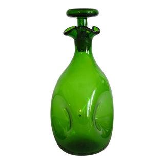 Vintage Blenko Hand Blown Green Glass Decanter & Stopper