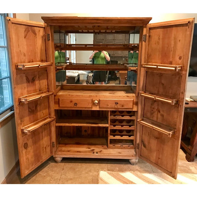 Customized Mexican Pine Cantina Dry Bar Cabinet - Image 5 of 10