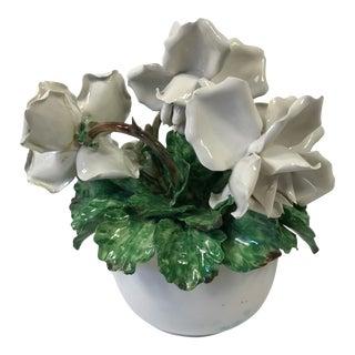 Vintage Capodimonte Italy White Rose Flower Arrangement