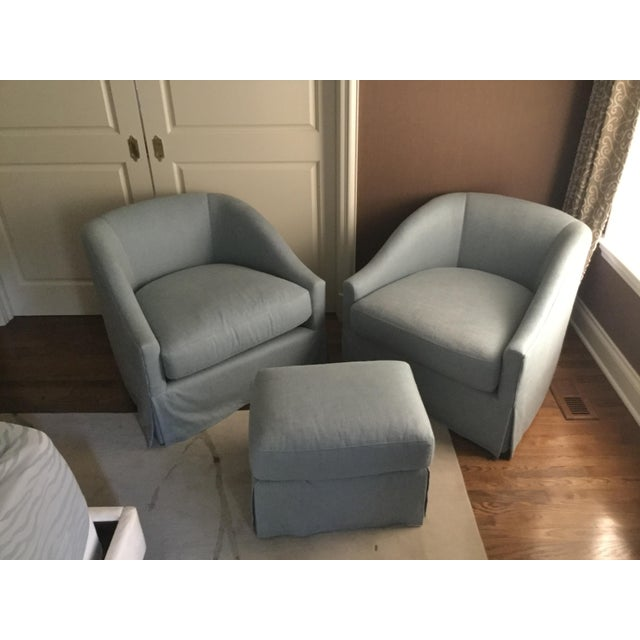 Baker Furniture Upholstered Lounge Chairs & Ottoman - Image 2 of 6