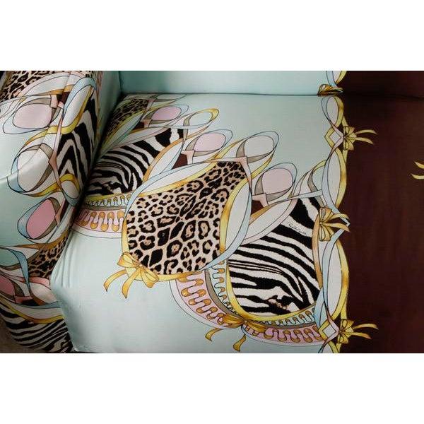Roberto Cavalli Custom Upholstered Silk Loveseat - Image 5 of 9