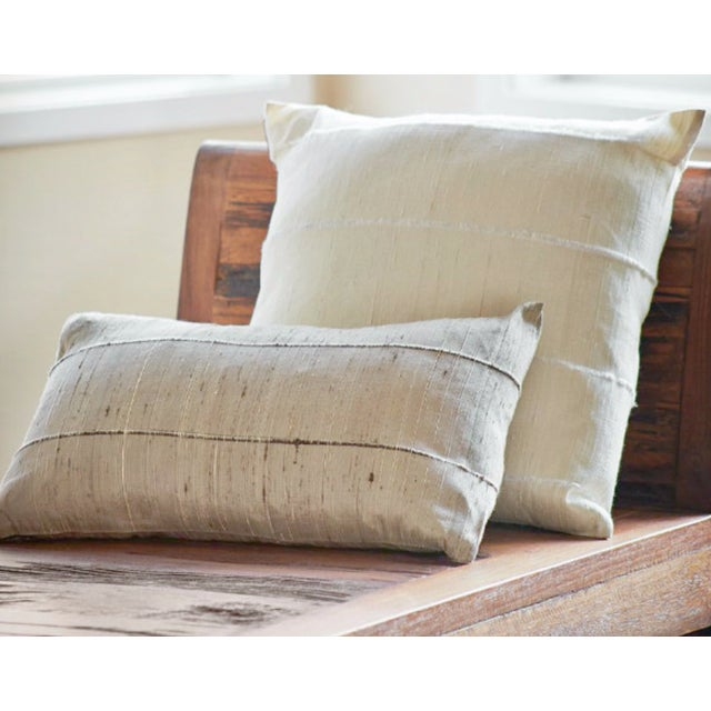 Ivory Striped Raw Silk Square Pillow Cover - Image 2 of 3