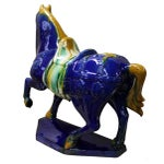 Image of Chinese Blue & Yellow Ceramic Marching Horse Figure
