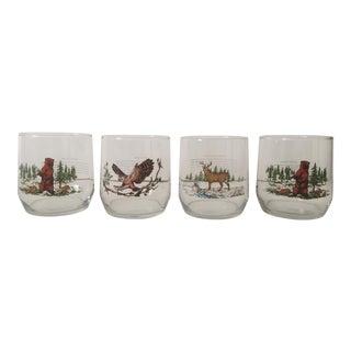 Vintage Mid Century Woodland Wildlife Old Fashioned Drinking Glasses - Set of 4