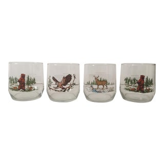 Vintage Mid Century Woodland Wildlife Old Fashioned Drinking Glasses - Set of 4