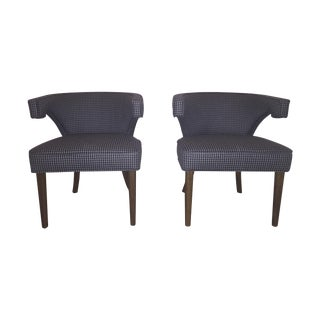 Sabin Atherton Blue Houndstooth Chairs - A Pair